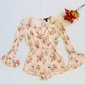 Forever 21 Peach Floral Bell Sleeve Gauze Romper